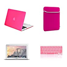 """TOP CASE 4 in 1 Bundle Deal - Air 11-Inch Rubberized Hard Case, Keyboard Cover, Screen Protector and Sleeve Bag for MacBook Air 11"""" A1370 & A1465 - Hot Pink"""