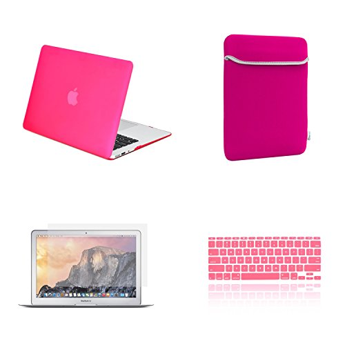 TOP CASE 4 in 1 Bundle Deal - Air 11-Inch Rubberized Hard Case, Keyboard Cover, Screen Protector and Sleeve Bag for MacBook Air 11