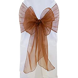 "Wedding Linens Inc. (10 PCS) 12"" x 116"" Organza Chair Sashes / Sheer Organza Angle End Chair Sash Bows Chair Bow Ties for Wedding Decoration Party Banquet Events - COPPER"