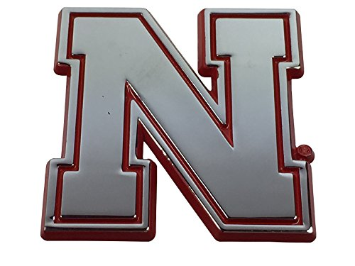 - University of Nebraska METAL Auto Emblem with Red Trim (Iron N)