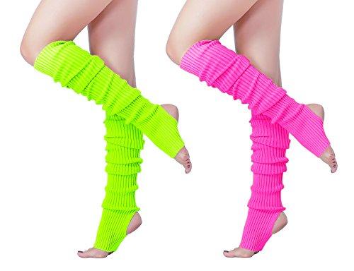 v28 Women 80s Pink Ribbed Knit Stirrup Neon Dance Sports Yoga Long Leg Warmers -