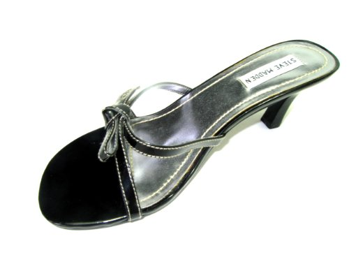 Fuschia Satin Sandals (Steve Madden Mule Sandal Satin and Leather Fuschia ,Black (5.5m, patent black))
