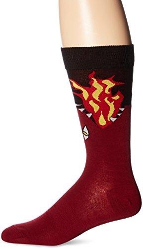 K. Bell Socks Men's Crew,Dark Red Dragon,Sock size:10-13/shoe size: 6.5-12