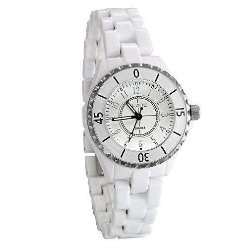 JewelryWe Women Wrist Watch Analog Display Numeral Dial Quartz Watch Ceramic Band Lady Dress Bracelet ()