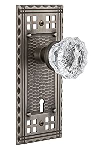 """Nostalgic Warehouse Craftsman Plate with Keyhole Crystal Glass Knob, Privacy - 2.375"""", Antique Pewter"""