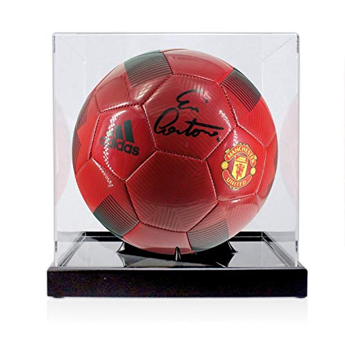 (Eric Cantona Signed Red Manchester United Football In Display Case | Autographed Soccer Ball)