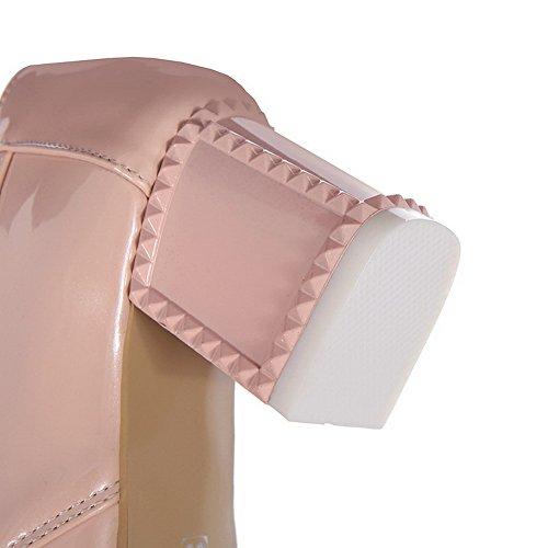 AllhqFashion Damen Spitz Zehe Schnüren PU Leder Rein Mittler Absatz Pumps Schuhe Pink