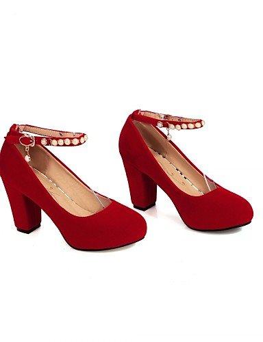 casual mujer 5 Rosso UK8 n EU Lavoro ZQ US10 di tac ¨ CN43 tacones tacones ® EU42 Scarpe oficina 5 35 abito robusto semicuero negro Rosso TwqEHqO