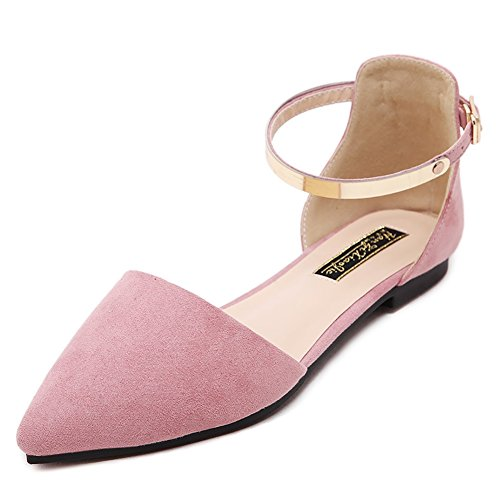 - Meeshine Womens D'Orsay Pointy Toe Ankle Strap Buckle Comfort Ballerina Ballet Flats Shoes(8 B(M) US,Pink)