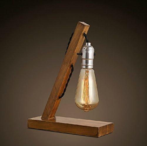 Loft Retro Wood E27 Edison Table Lamp