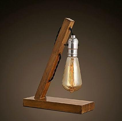 Loft Retro Wood E27 Edison Table Lamp Lamp With Tubular Bulb Cafe