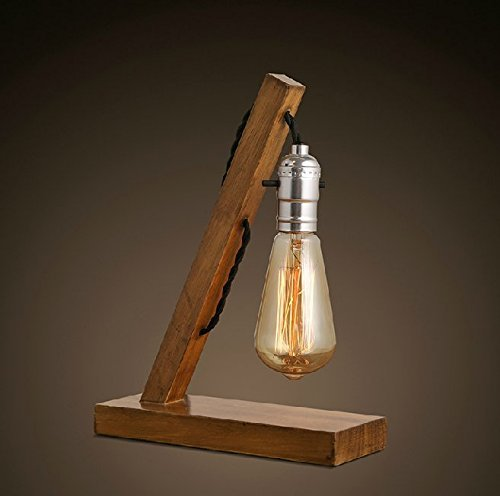 Loft Retro Wood E27 Edison Table Lamp Lamp With Tubular Bulb Cafe