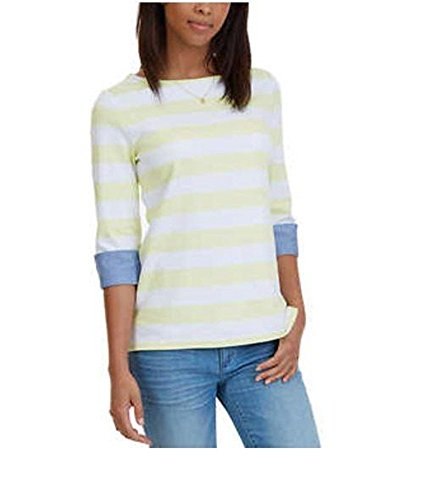 Nautica Womens Chambray-Cuff 3/4 Sleeve Top (Pale Lime, XX-Large)