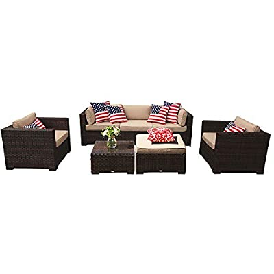 PATIOROMA Outdoor Furniture Sectional Sofa Set (7-Piece Set) All-Weather Brown Wicker with Beige Seat Cushions &Glass Coffee Table| Patio, Backyard, Pool| Steel Frame -  - patio-furniture, patio, conversation-sets - 415qFwDN1IL. SS400  -