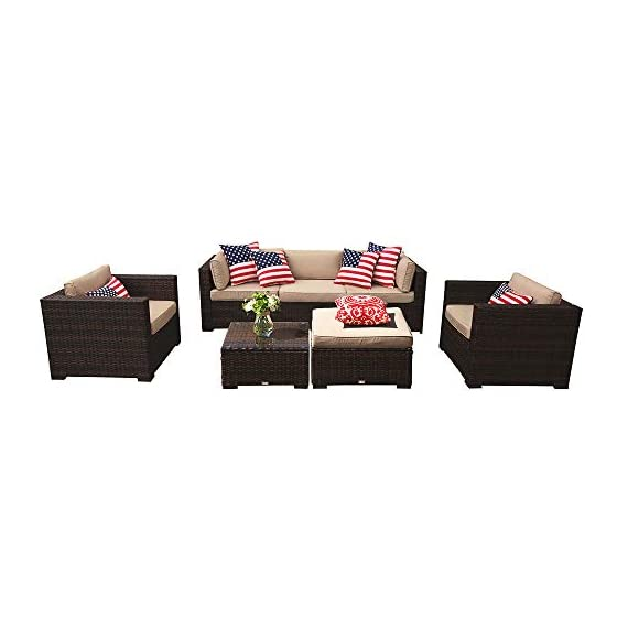 PATIOROMA Outdoor Furniture Sectional Sofa Set (7-Piece Set) All-Weather Brown Wicker with Beige Seat Cushions &Glass Coffee Table| Patio, Backyard, Pool| Steel Frame -  - patio-furniture, patio, conversation-sets - 415qFwDN1IL. SS570  -