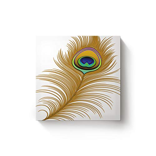 BMALL Wall Art for Home Decor Canvas Print Wall Art - Gatsby of Golden Peacock in Feather Abstract Artwork Pattern - Gallery Wrap Modern Home Decor,Ready to Hang - 16x16inch -