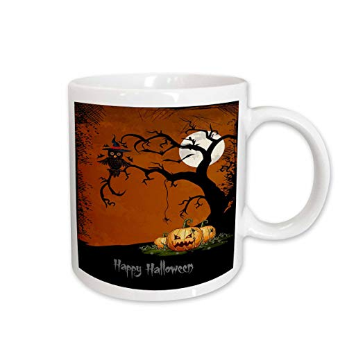 3dRose Halloween Night with Haunted Tree And Pumpkins Ceramic Mug, 11-Ounce ()