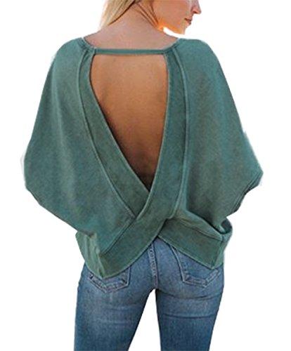 - BTFBM Women's Backless Loose Shirt Long Sleeve Open Back Cross Tee Top Blouse (Small, Green)