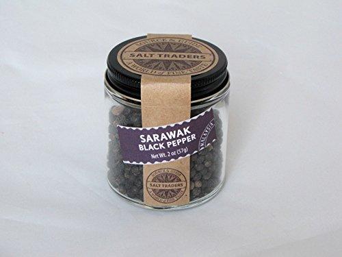 SALT TRADERS Sarawak Black Peppercorns from Malaysia - 2 oz Jar