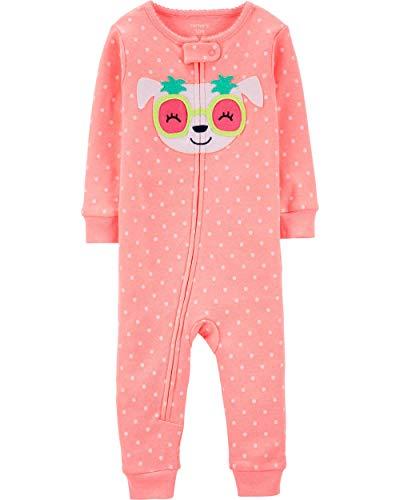 Carter's Baby Girls' 1-Piece Dog Snug Fit Cotton Footless Pajamas (24 Months) Neon Orange ()