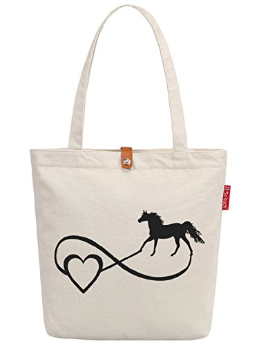 So'each Women's Love Horse Letters Graphic Top Handle Canvas Tote Shoulder Bag