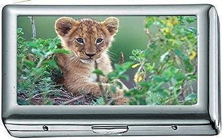 Animales Cachorros Leones felinos Estuche/Caja de Cigarrillos Portatarjetas de Visita Estuche de Acero Inoxidable Protección de Billetera de Metal Plateado
