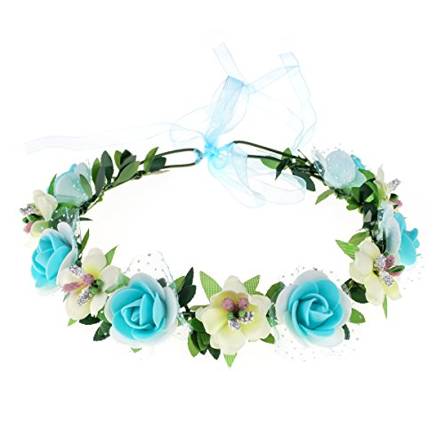 June Bloomy Rose Floral Crown Wreath Girls Flower Headband Boho Garland Halo Headpiece (Tiffany Blue)]()