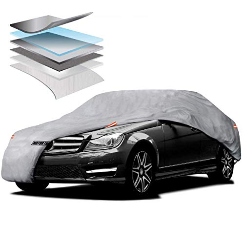 (Motor Trend M5-CC-3 L (7-Series Defender Pro-Waterproof Car Cover for All Weather-Snow, Wind, Rain & Sun-Ultra Heavy 6 Layers-Fits Up to 190