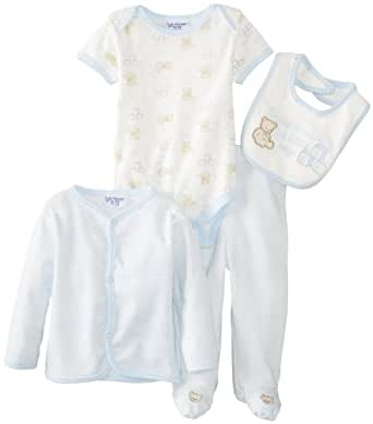 kyle & deena Baby-Boys Newborn 4 Pack Cardigan Layette Bib Bodysuit and Footed Pant-Teddy Bear, Blue, 3-6 Months