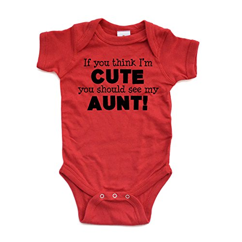 (Apericots Original Funny Baby Bodysuit 100% Cotton If You Think I'm Cute See My Aunt,Red,18)