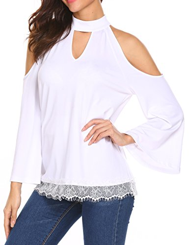 Unibelle Women's Long Sleeve Cold Shoulder Patchwork Sexy Choker Blouse T-Shirt Tops