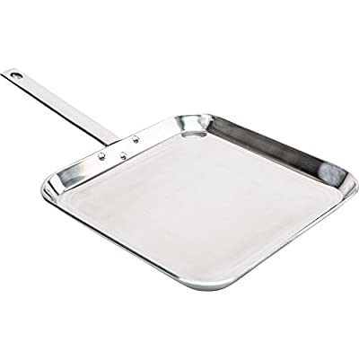 "Chef's Secret by Maxam 11"" T304 Stainless Steel Square Griddle."