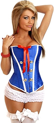 [Daisy Corsets Women's Sexy Sailor Pin Up Corset, Blue, 4X] (Plus Size Sexy Sailor Costumes)
