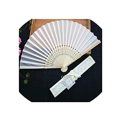 Sheep Shop-Fan 100Pcs/Sets Luxurious Silk Fans&Paper; Wedding Gifts Party Favor Pink Beige Black 3Color,Creamy White