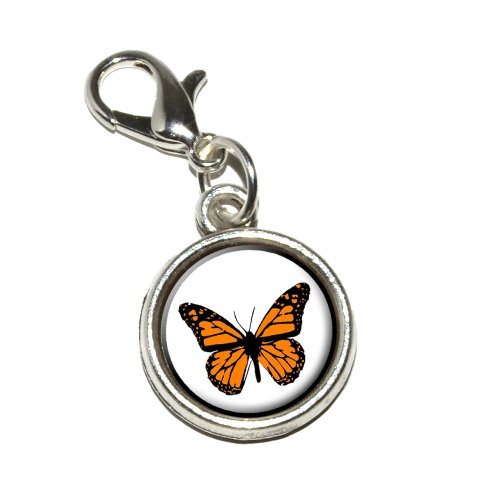 Graphics and More Monarch Butterfly Antiqued Bracelet Pendant Zipper Pull Charm with Lobster Clasp -