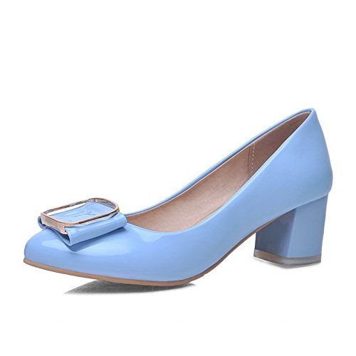 AmoonyFashion Womens Patent Leather Kitten Heels Pointed Closed Toe Solid Pumps-Shoes Skyblue UgWvEm6E