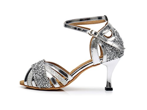 5cm Women's Samba Joymod Wrap Wedding Salsa Kitten Tango Dance MGM Ballroom Silver Heel Heel Modern Shoes Glitter Ankle Party 7 Synthetic Sequins Sandals Rumba Latin wFxgqg