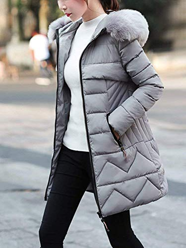 Femme Doudoune Manteau Longues Parka Hiver avec Capuchon Fourrure Mince lgant Loisir Outdoor Chaud Costume Transition Long Manches Doudoune Chemine Stepp Grau