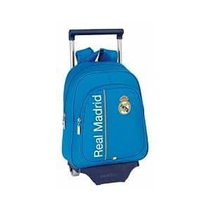 Real Madrid - Mochila pequeña infantil con ruedas, 27 x 34 x 10 cm, color azul (Safta 611456020)