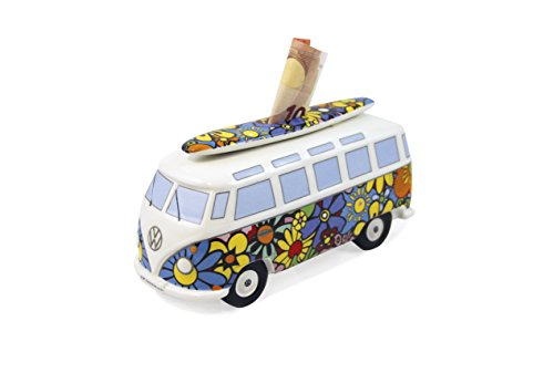 - BRISA VW Collection VW T1 Bus Money Bank with Surf Board (1:18) - Flower Power