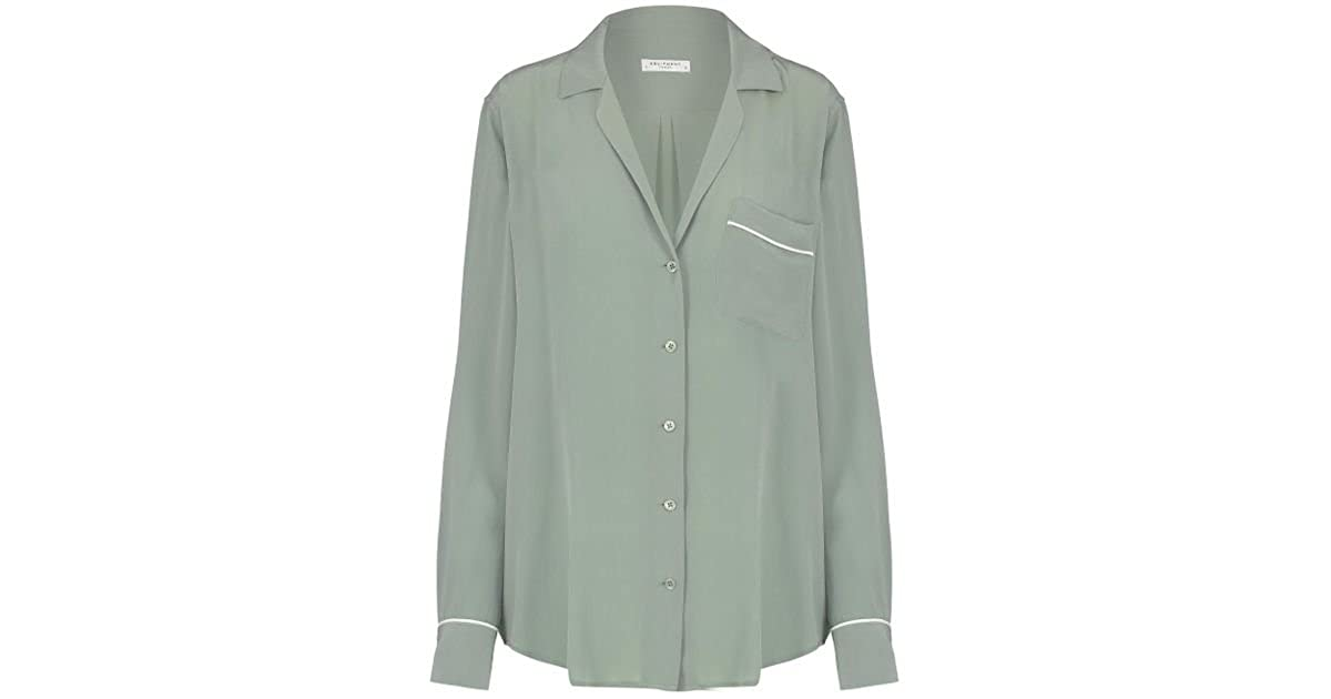 0eb4bbf75280c Amazon.com  Equipment Keira Piped Silk Shirt Olive Branch  Clothing
