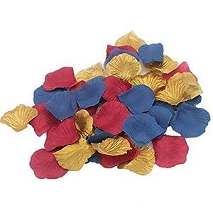 ALLHEARTDESIRES 900 Pack Navy Blue Burgundy & Gold Artificial Rose Flower Petals for Wedding Table Confetti Scatters Bridal Shower Party Flower Girl Basket Decoration Favor 65