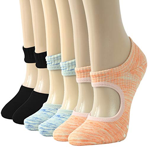 Cotton Yoga Socks for Women,Gmark Non-Slip Grips & Straps Socks with Cushioned Toe and Heel, Ideal for Barefoot Workout By Gmark, the Best Gift Small Multicoloured