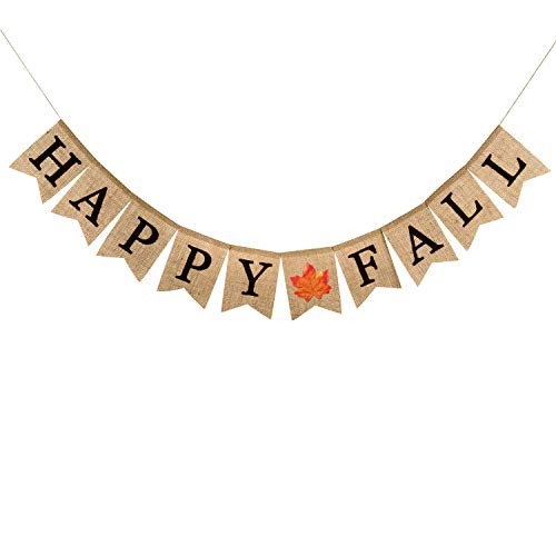 Famoby Happy Fall Burlap Banner with Maple Leaf for Harvest Time Autumn Theme Party Christmas Decorations