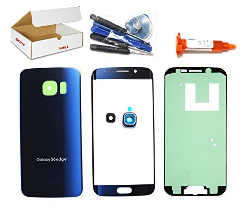 (md0410) Black Sapphire Blue Front Outer Glass Lens, Back Cover, Camera Lens Cover Replacement Compatible Galaxy S6 Edge G925 + Adhesive + Tools (LCD touch screen & Digitizer not - Housing Front Cover