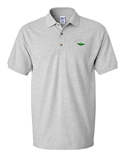 Custom Polo Shirt Green Senior Pilot Badge Embroidery Design Cotton Golf Shirt for Men Oxford Grey Medium Personalized Text Here
