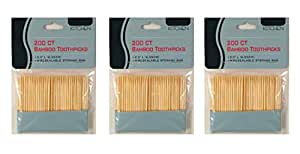 Set of 3 Packs Kitchen Brand 200 Count Bamboo Toothpicks (600 toothpicks total)