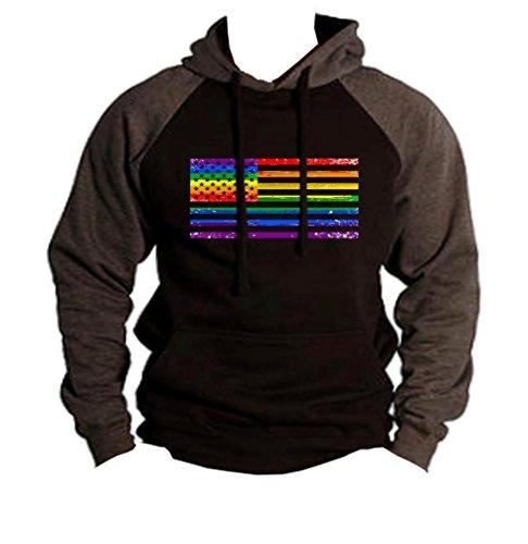 Interstate Apparel Men's Rainbow Gay Flag Black/Charcoal Raglan Baseball Hoodie Sweater (Raglan Gay Rainbow Flag)