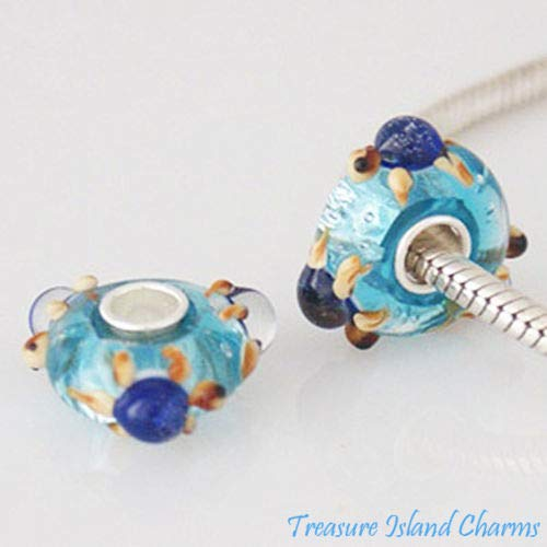 OutletBestSelling Beads Bracelet SEA Ocean Turtle Blue FOIL Murano Glass Sterling Silver European Bead Charm