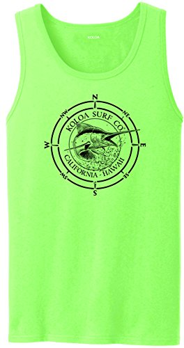(Joe's USA Koloa Surf Marlin Logo Heavyweight Cotton Tank Top-Neon.Green/b-2XL)